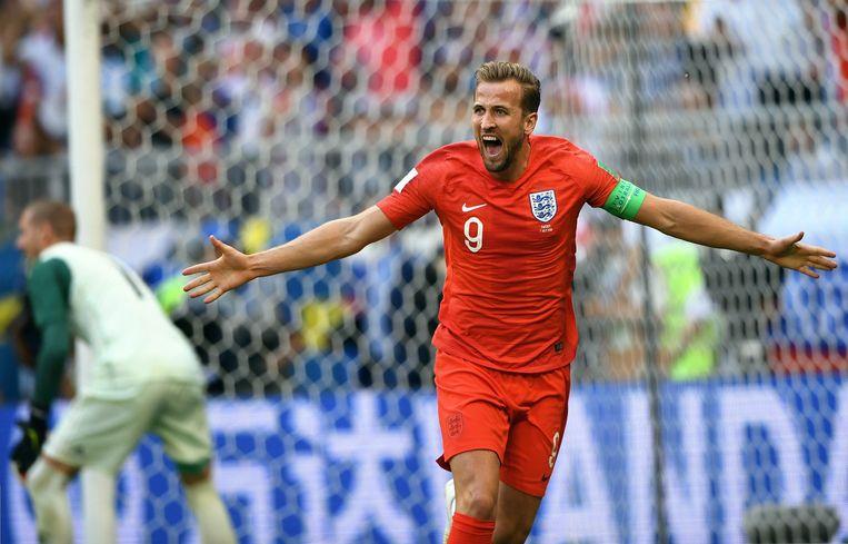 Harry Kane juicht op het afgelopen WK na zijn goal tegen Zweden. Beeld Photo News