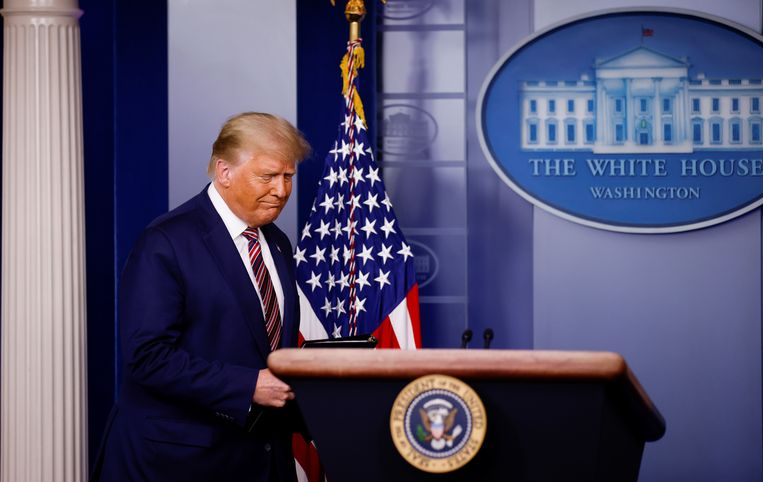 Donald Trump vlak voor zijn opzienbarende speech op 5 november 2020. Beeld Reuters. Beeld REUTERS