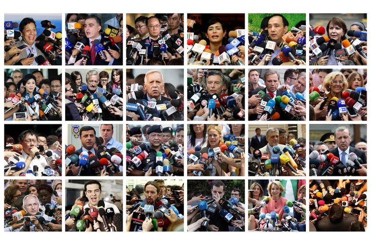 De meest authentieke fotografie die er is: <strong>woordvoerders</strong> achter een wolk van microfoons. Beeld