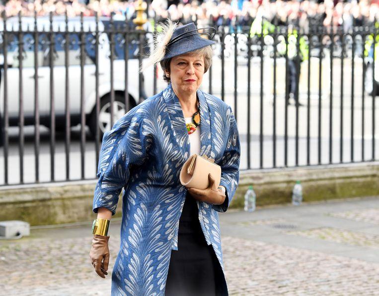 Theresa May arriveert bij Westminster Abbey in Londen voor Commonwealth Day, dat meestal op de tweede maandag van maart wordt gevierd.  Beeld EPA