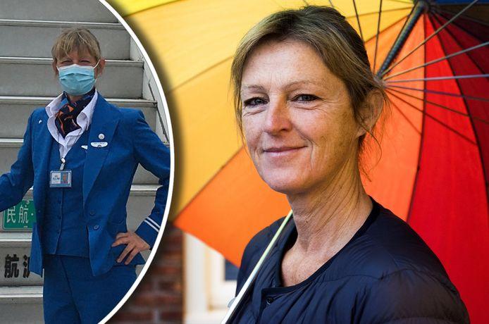 KLM-stewardess Claudia Mansvelt uit Alphen werkt nu in de zorg bij een verpleeghuis in Vleuten.