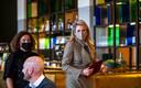 Koningin Maxima (R) tijdens haar werkbezoek aan het Concertgebouw De Vereeniging in Nijmegen.
