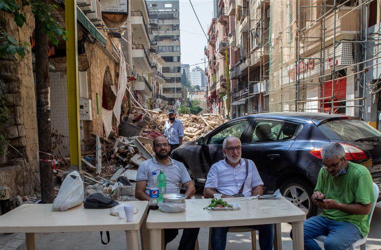 Ontbijt in Libanon.Deze foto werd afgelopen woensdag genomen. Beeld EPA