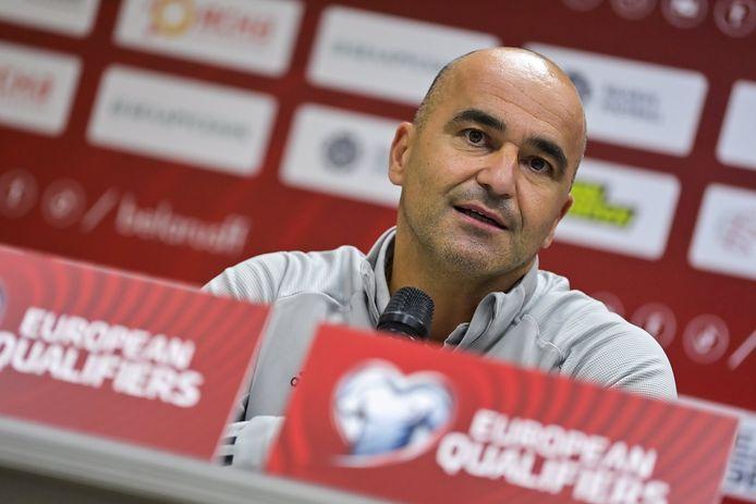 Roberto Martinez en conférence de presse d'avant-match à Kazan, le 7 septembre 2021.