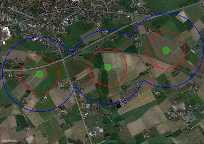 De locaties (bij benadering) van de drie geplande windmolens in Pittem