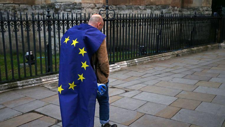 Deze demonstrant was niet blij met de Brexit. Beeld afp