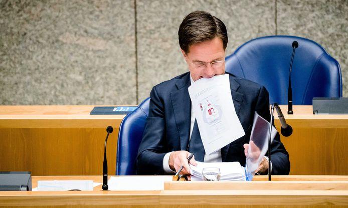 Premier Rutte vanavond tijdens het coronadebat met de Tweede Kamer