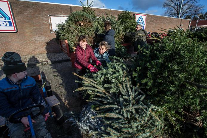 Een vergelijkbare kerstbomeninzameling, afgelopen jaar in Ruurlo.
