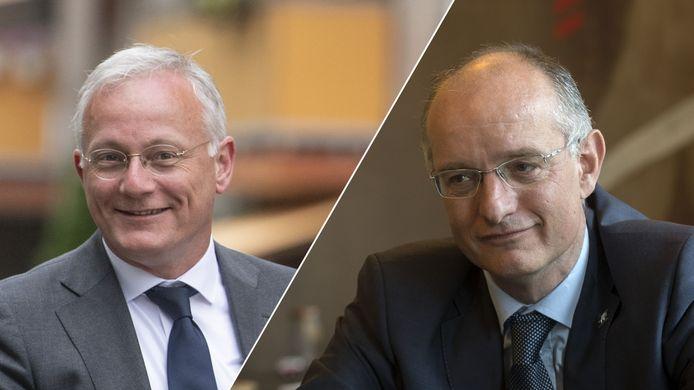 Burgemeesters Arjen Gerritsen (Almelo) en Onno van Veldhuizen (Enschede).