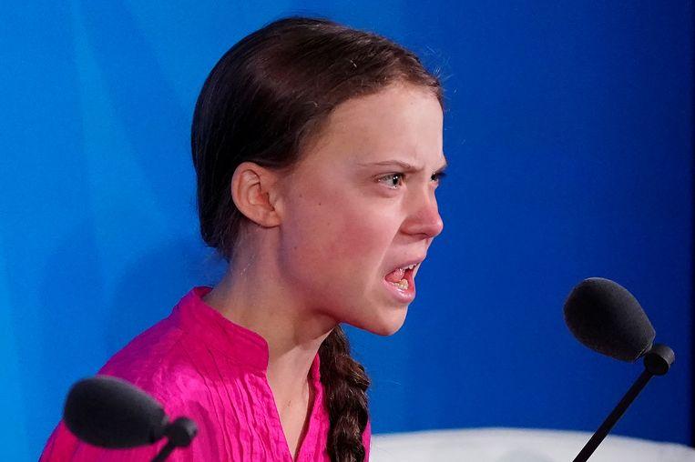 De Zweedse klimaatactivist Greta Thunberg haalde in haar toespraak op de VN-klimaattop in New York uit naar de aanwezige wereldleiders.  Beeld REUTERS