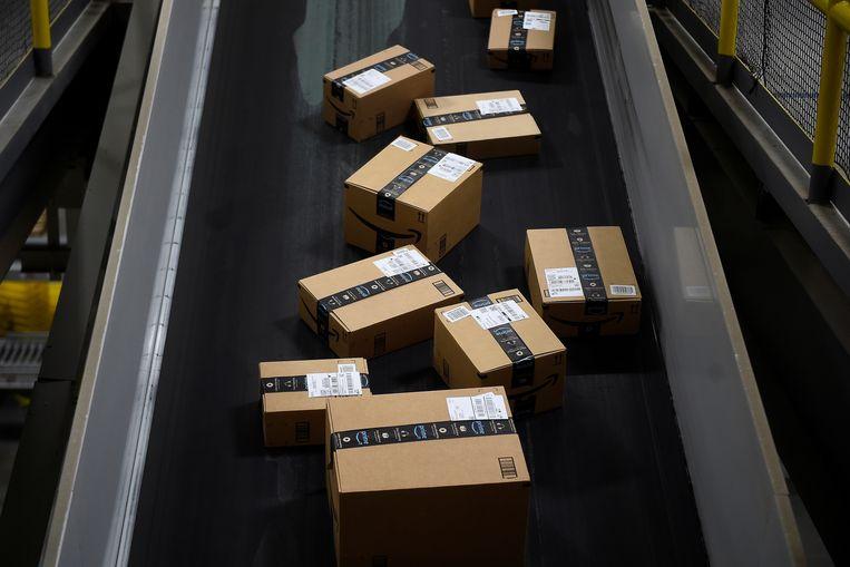 """""""Wij bezorgen gemiddeld 235.000 pakjes per dag"""", zegt Barbara Van Speybroeck van Bpost. Beeld REUTERS"""