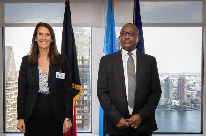 Minister van Buitenlandse Zaken Sophie Wilmès met de Nigeriaanse minister van Buitenlandse Zaken Hassoumi Massoudou op het evenement in de marge van de Algemene Vergadering van de VN.