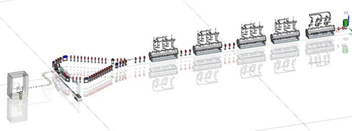 Een ontwerp van een opstelling waarbij met laserlicht medische isotopen gemaakt kunnen worden met een uitvinding van ASML.