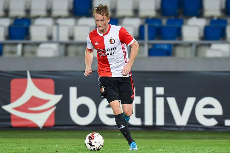 Sam Larsson van Feyenoord tijdens de wedstrijd tegen Dinamo Tbilisi donderdagavond Beeld BSR Agency