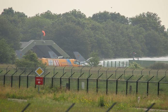 De Belgische F-16 kwam in problemen tijdens het opstarten.