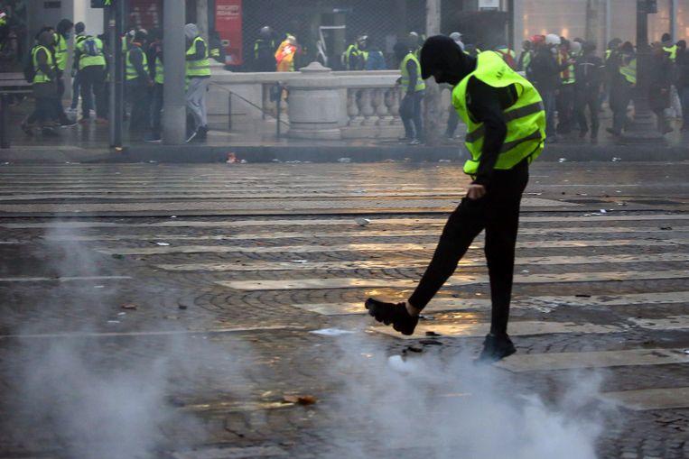 Protest van gele hesjes afgelopen weekend in Parijs.