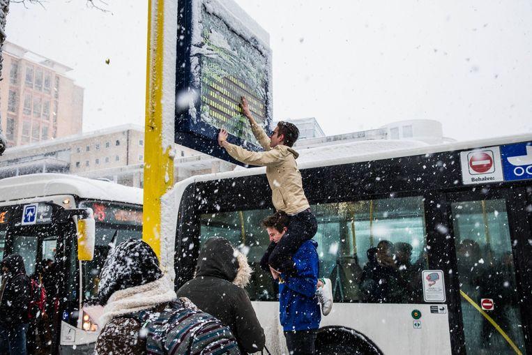 In Gent is een bord van De Lijn onleesbaar door de sneeuw. Beeld Wannes Nimmegeers