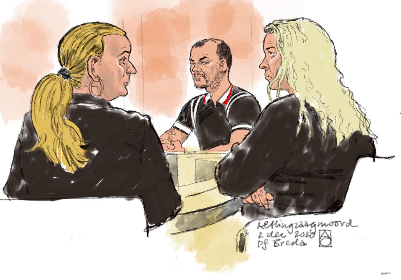 Rechtbanktekening van (vlnr) Wanda van R., Nicky S. en Edna V. tijdens een tussentijdse zitting. De verdachten staan terecht voor de moord op Belgische loodgieter Johan van der Heyden.  Beeld ALOYS OOSTERWIJK/ANP