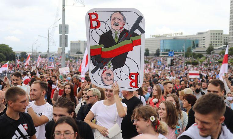 Demonstranten in Minsk. Beeld AFP