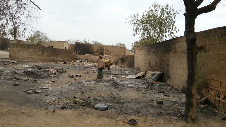 Archiefbeeld van een terroristische aanval in Nigeria. Beeld AP