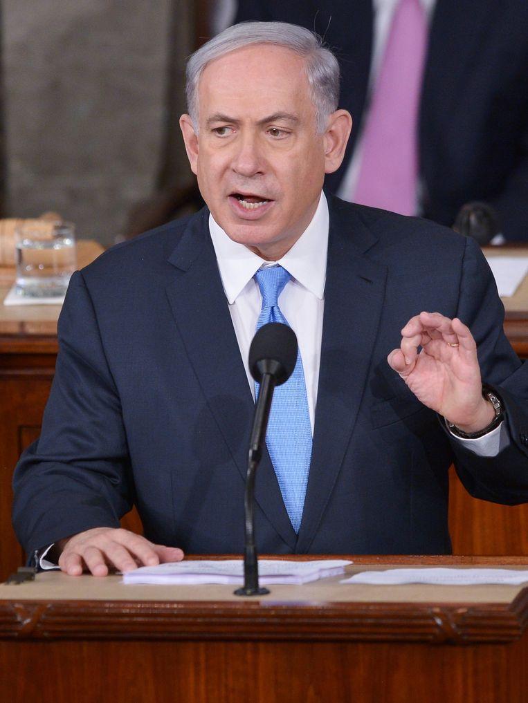 De Israëlische premier Benjamin Netanyahu tijdens zijn toespraak voor het Amerikaanse Congres waarin hij zei dat Iran niet alleen een bedreiging is voor Israël en het Midden-Oosten, maar voor de gehele wereld. Beeld ANP