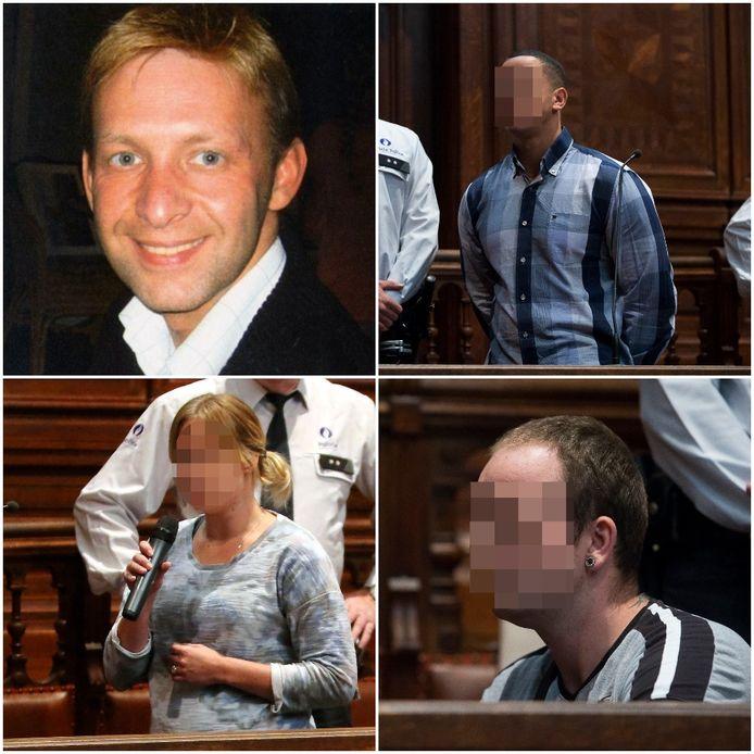 Slachtoffer Gunther Haagen, de twee hoofdrolspelers Manuel Van Veen en Tessa Van Dalen samen met Marc V.D. die betrokken was bij de afpersing en diefstal met geweld maar van de moord niets afwist.