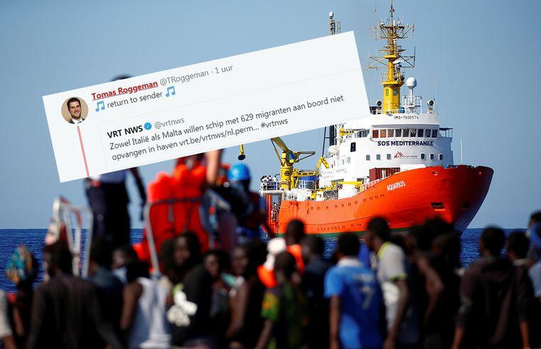 De tweet die Roggeman verstuurde over de 629 migranten. Beeld Reuters/rv