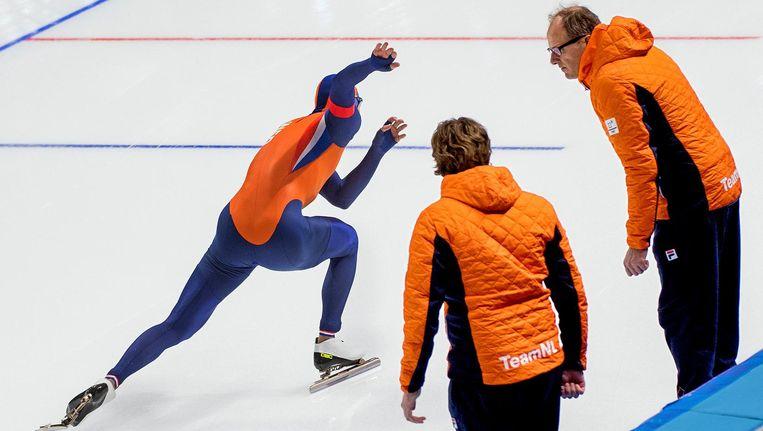 Kjeld Nuis in actie op de 1.500 meter in Gangneung Beeld Klaas Jan van der Weij / de Volkskrant
