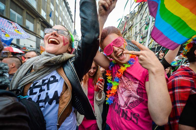 De Gay Pride in Brussel. Beeld EPA