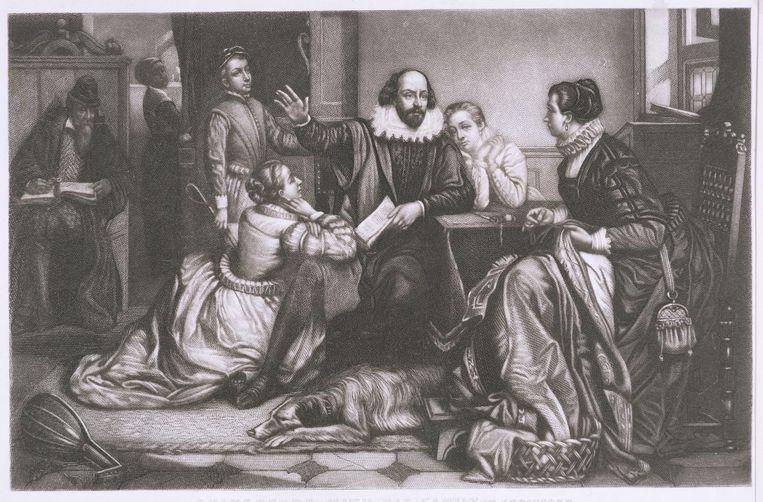 William Shakespeare en zijn gezin op een gravure van de Belgische kunstenaar Edouard Jean Conrad Hamman (1819-1888).  Beeld Belga