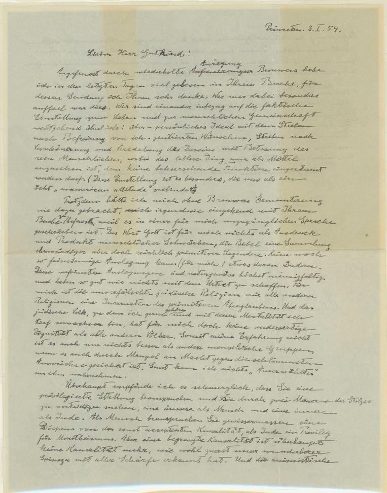 Een eerdere brief van Einstein over God die geveild werd bracht in 2012 drie miljoen dollar op. Beeld Reuters