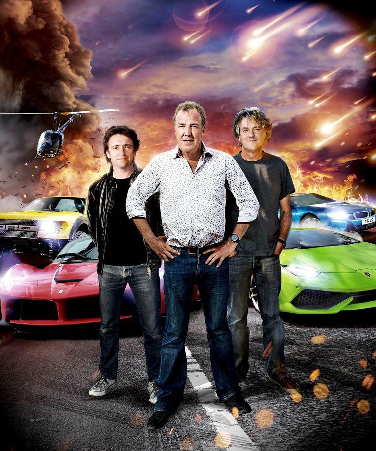 Legendarisch Top Gear-trio Richard Hammond, Jeremy Clarkson en James May. Beeld Top Gear
