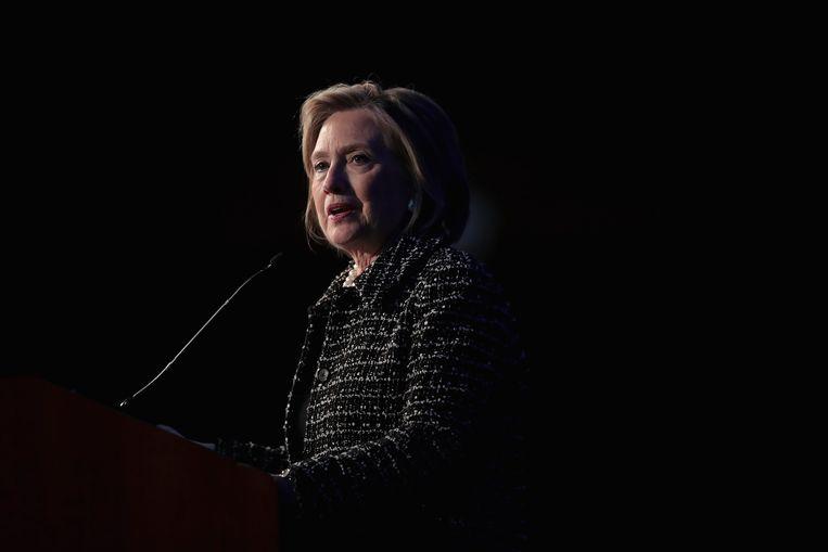 Hillary Clinton tijdens een fundraiser in Chicago, half april.  Beeld AFP