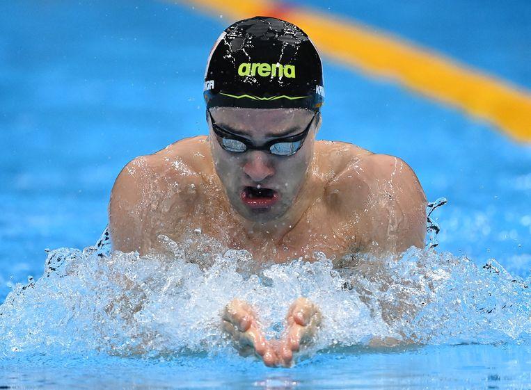 Arno Kamminga op weg naar zilver op de 100 meter schoolslag. Beeld AFP