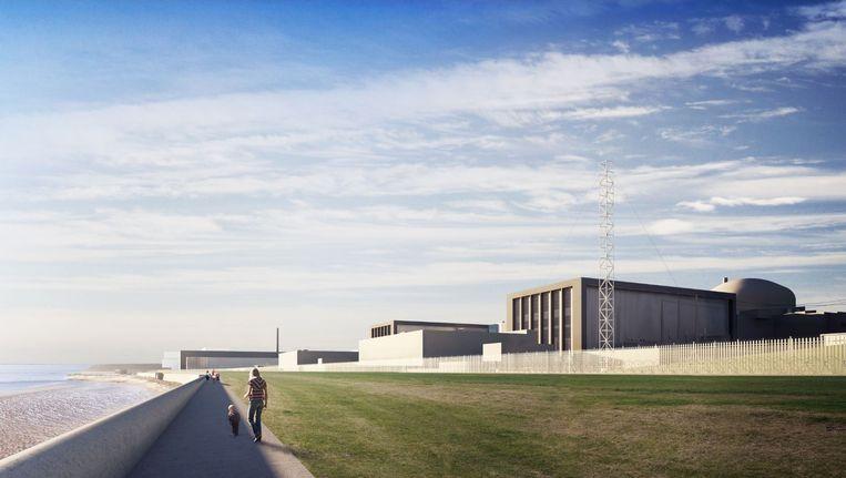 Een schets van hoe de kerncentrale eruit zou moeten gaan zien. Beeld AFP