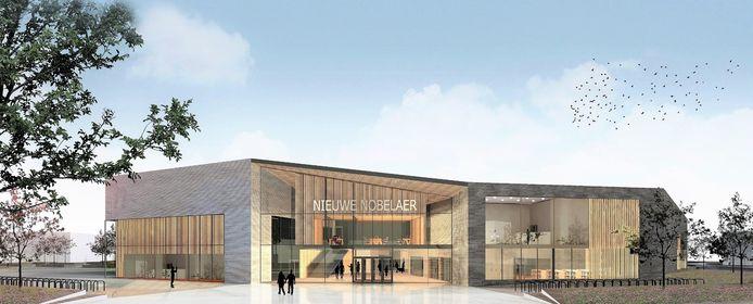 Artist impression van de nieuwbouw van de Nobelaer in Etten-Leur. Het ontwerp voor de buitenruimte is na deze impressie nog aangepast.