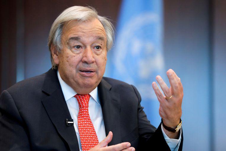 Sectretaris-generaal van de VN Antonio Guterres op het hoofdkwartier in New York. Beeld Reuters