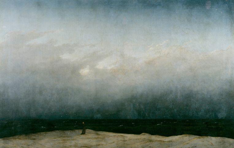 Caspar David Friedrich, Monnik aan zee (1809) Collectie Alte Nationalgalerie Berlin. Beeld .
