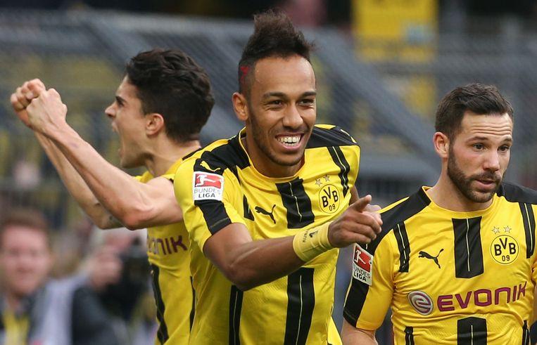Aubameyang scoorde twee keer voor Dortmund. Beeld AFP