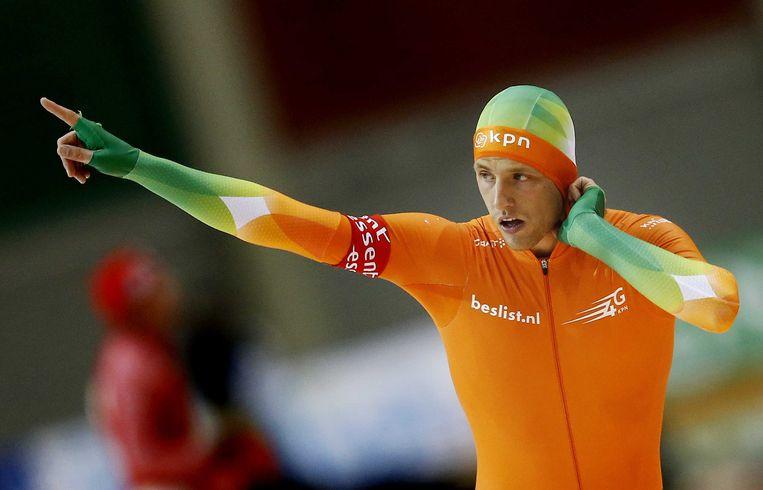 2013-01-27 SALT LAKE CITY - Michel Mulder na zijn rit op de 1000 meter op het WK sprint schaatsen in de Olympic Oval. ANP JERRY LAMPEN Beeld ANP