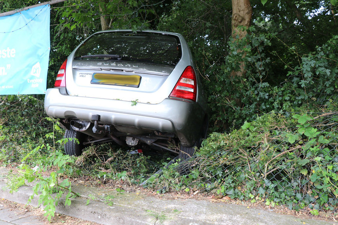 Auto rijdt bosjes in op parkeerplaats Albert Heijn Den Bosch