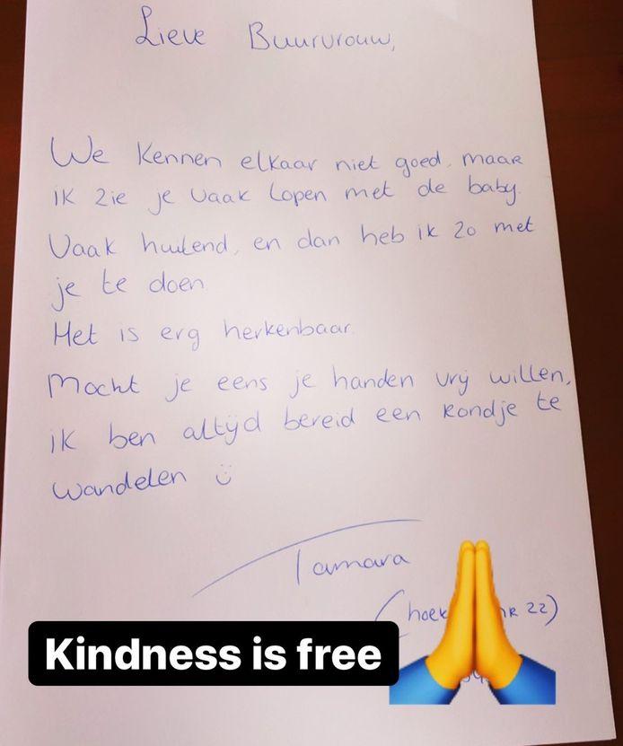 Briefje van Tamara