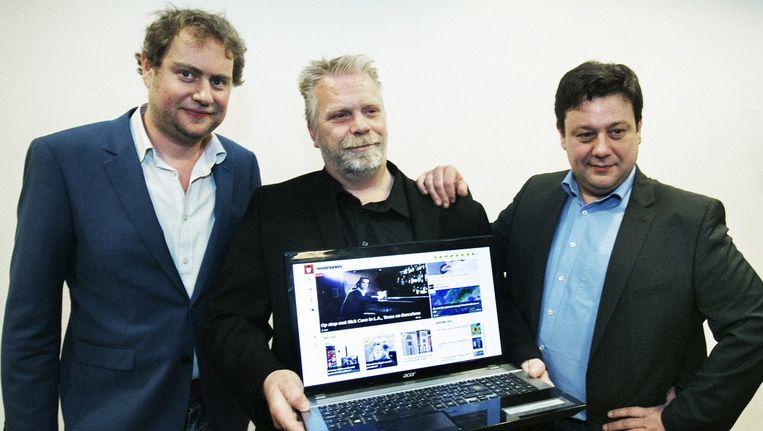 Wouter Verschelden (l) en Mick Van Loon (m) van Newsmonkey. Patrick Van Waeyenberge (r) heeft de nieuwssite intussen verlaten. Beeld tim dirven