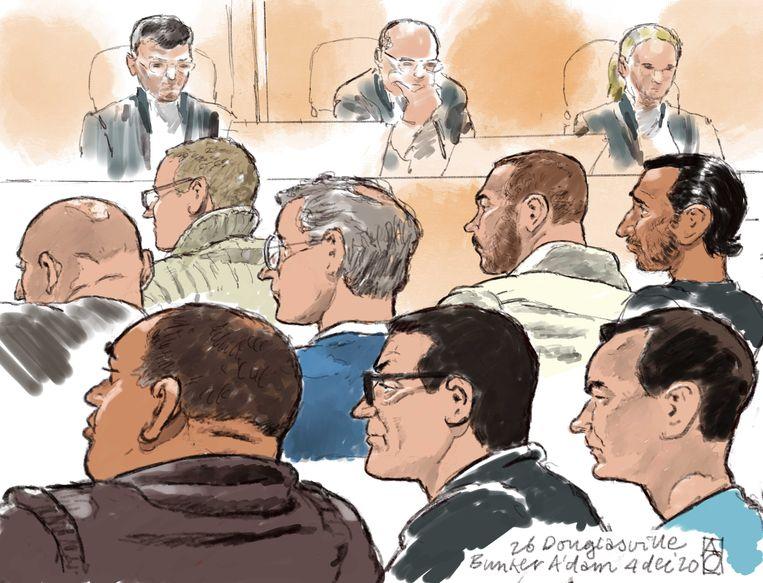 Rechtbanktekening van de gerechtsbunker in Amsterdam-Osdorp waar een tussentijdse zitting in de strafzaak rond de zogeheten martelcontainer in Wouwse Plantage plaatsvond.  Beeld ANP