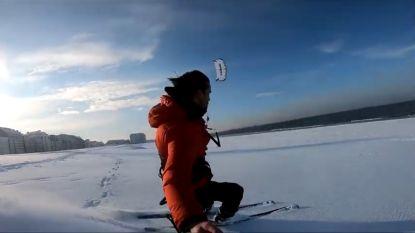 VIDEO: 'Snowkiten' op het strand? In Knokke-Heist doen ze dat zo