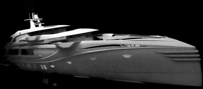 Het 55 meter lange motorjacht dat nog geen naam heeft en voorlopig wordt aangeduid als Project Phi.