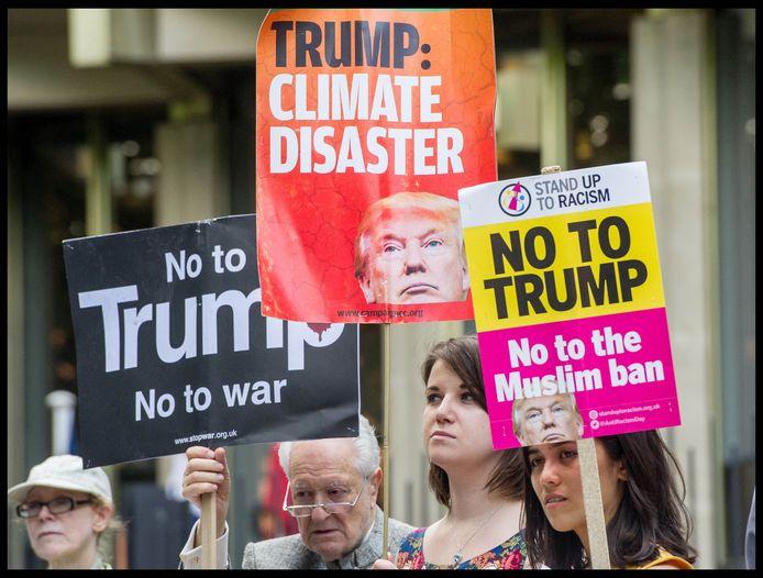 Protest tegen Trump in Londen.