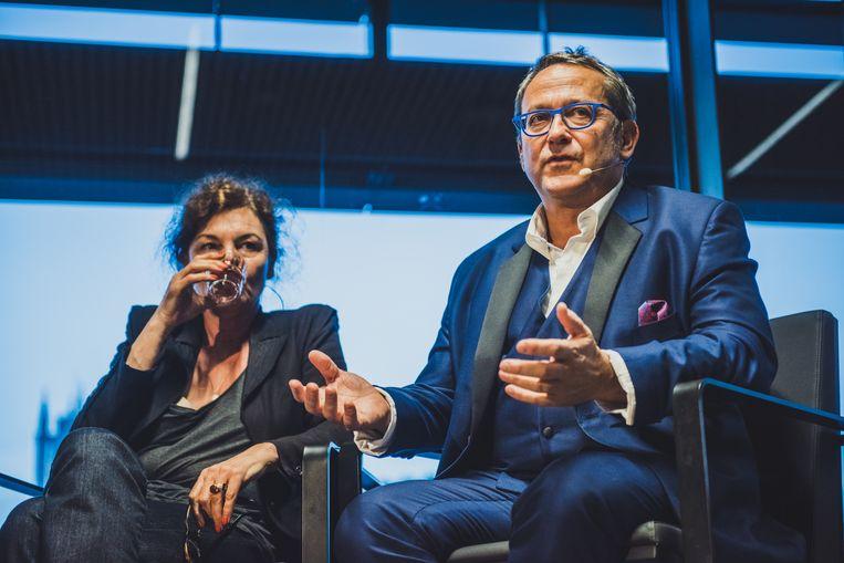 Hilde Van Mieghem en Tom Lanoye op de eerste Film Fest Gent Talkies. Beeld Jerroen Willems