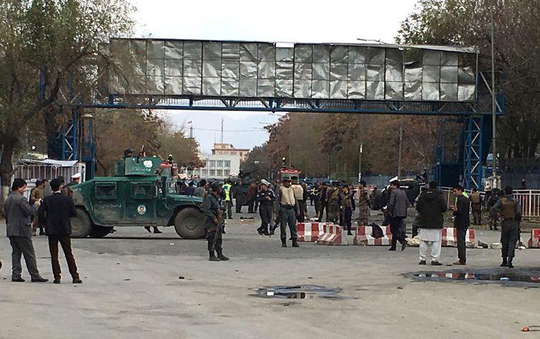 Veiligheidstroepen op de plaats waar de aanslag deze ochtend plaatsvond.