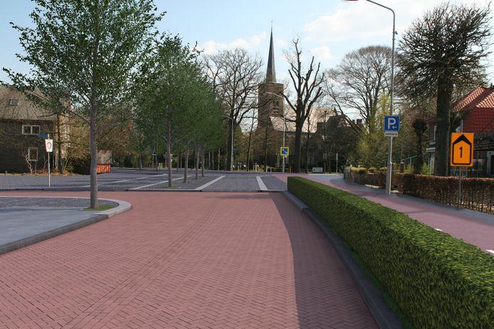Een beeld van de nieuwe aansluiting van de Bergstraat op het Martinusplein in Valkenswaard met op de achtergrond de Martinuskerk. Met als belangrijkste veranderingen gescheiden rijbanen voor autoverkeer en rechts een vrijliggend, tweezijdig fietspad.